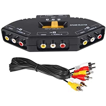 DIGIFLEX Commutateur AV RCA 3 ports support de connexion pour Xbox, PS2, DVD