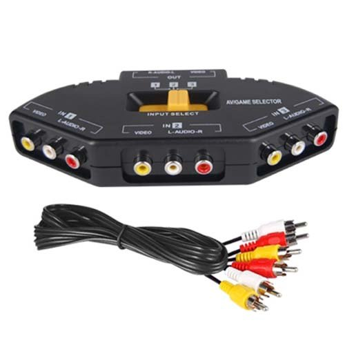 DIGIFLEX AV Cinch Video/Audio Switch Hub mit 3 Input-Anschlüssen für Xbox 360, PS2 & DVD-Player - Cinch verteiler Kabel Xbox 360 Av-anschluss