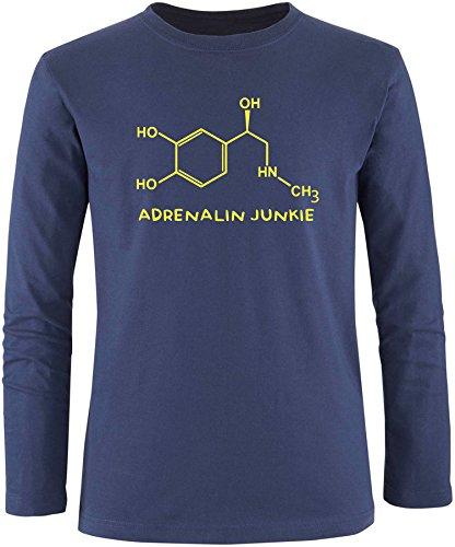 EZYshirt® Adrenalin Junkie Herren Longsleeve Navy/Gelb
