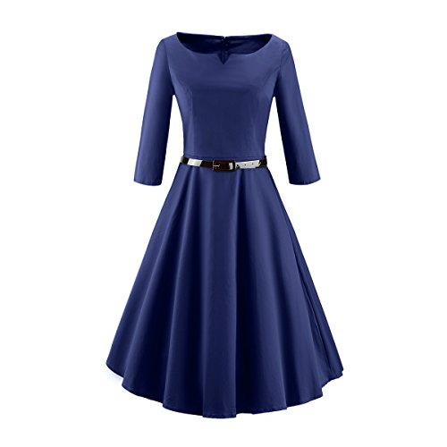 40er Jahre Tanz Kostüme (iLover Damen 3/4 Ärmel Retro Vintage Rockabilly 40s 50s 60s Kleid Partykleider)