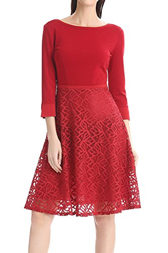 Élégante dentelle creux de la femme sur Swing Party Dress red