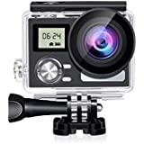 "SENSORIE WiFi Action Camera 4K 24MP Waterproof Ultra HD Remote EIS Sports Camera 100Ft Underwater 2"" LCD 170° Wide Angle With 2 Rechargeable Batteries Mounting Accessories Kits (Upgraded 24MP 128GB)"