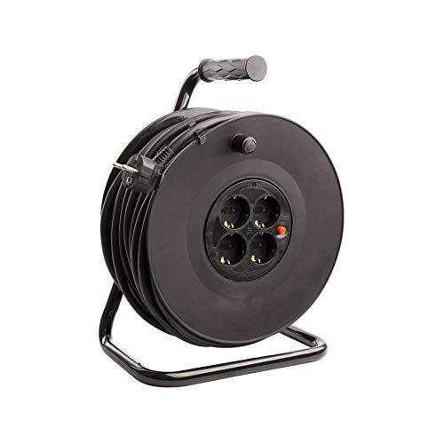 Carrete Alargador de Cable 40m Negro efectoLED