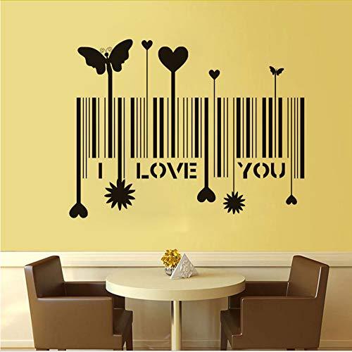 jecswolz Ich Liebe Dich Wandaufkleber Barcode Home Dekorative Aufkleber Romantische Muster Wandtattoos Vinyl Kunstwand Für Schlafzimmer 58 * 76 cm