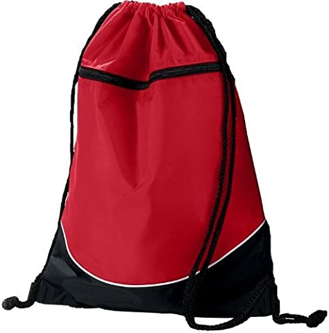 Red/Black/White Sports Lightweight Drawstring Backpack with Zippered Pocket by Authentic Sports
