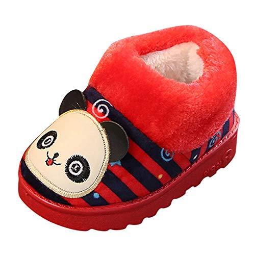 Vovotrade_scarpa Invernali per Bambino Warm Velluto Striped Slipper Cartoon Bear Home Boots Bambino Indoor Scarpe da Ginnastica all\'aperto