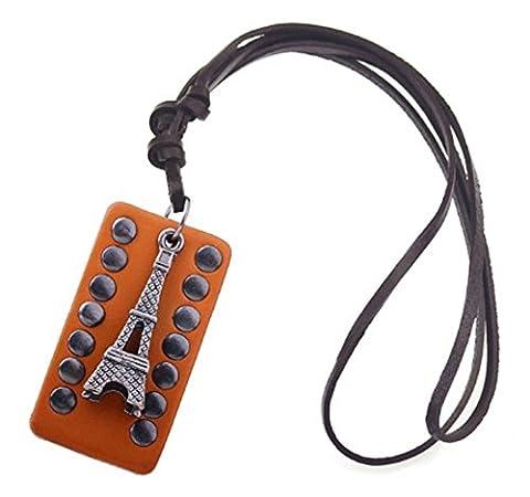 SaySure - Steampunk Vintage Eiffel Tower Genuine Leather Necklace