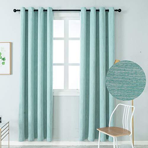 Colokey Elegant Baumwolle Verdunkelungsvorhänge Thermo-Isolierung Einzel-Panel für Schlafzimmer Wohnzimmer W52 x L84 blau
