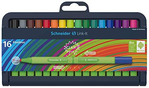 Schneider Link-It Fineliner (Superfeine Stifte mit 0,4 mm Strichstärke, einfach zusammenstecken und beliebig kombinieren) 16er Stiftebox sortiert