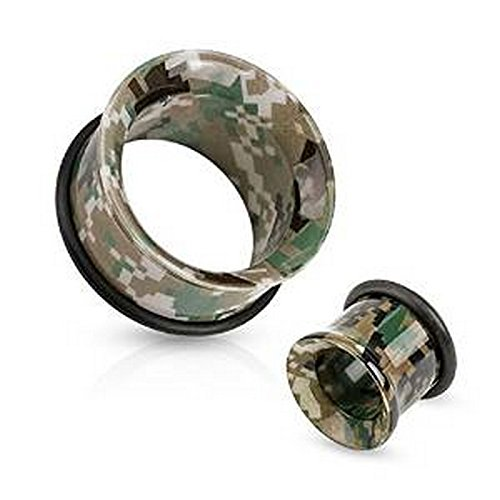Piercing tunnel camouflage avec o rings en acrylique Taille 6 mm