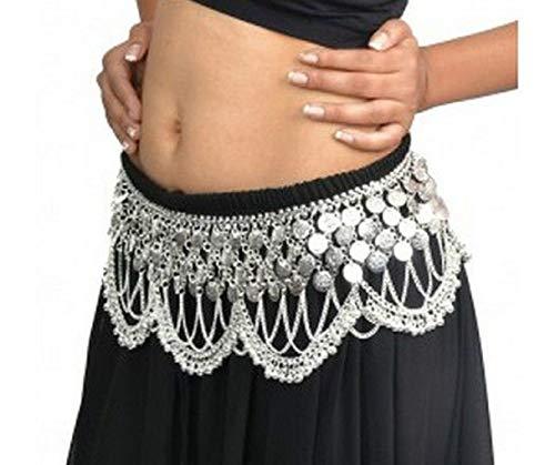 Schöne HEAVY Silber oder Gold getönten Metall Tribal Jingly Bauchtanz Tanz Kostüm Hip Münze Gürtel (SILBER)