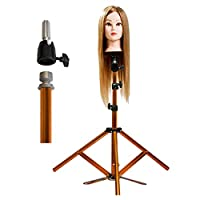 JFUNE Canvas Block Head Tripod Wig Stand Hairdressing Training Doll Head Stand Mannequin Manikin Head Tripod with Pedal, Light Stainless Steel Gold Color