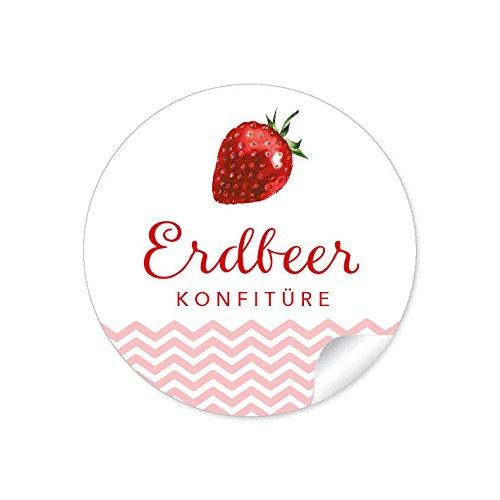 ne Marmeladenetiketten für die Küche in weiß/rot mit liebevoll illustrierter Erdbeere