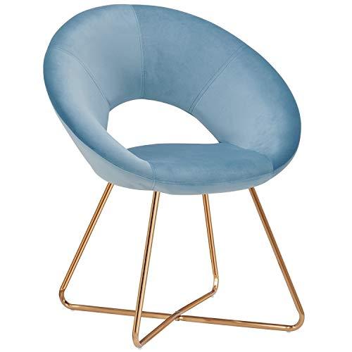 Duhome Silla Comedor Tela Terciopelo Azul Claro diseño