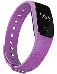 iMusi Bracelet Connectée Montre de Sport Intelligente SmartWatch Etanche Bluetooth 4.0 Ecran Tactile - Violet