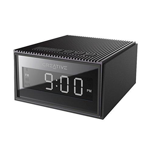 Creative Chrono - Tragbarer Bluetooth Lautsprecher (spritzwassergeschützt) und UKW-Radiouhr, schwarz (Chronos Clock)