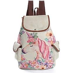 Mochila Escolar EstampadoDe Unicornio Flor ColeccióN De Bolso De Escuela Unisex Mochila De Viaje (A)