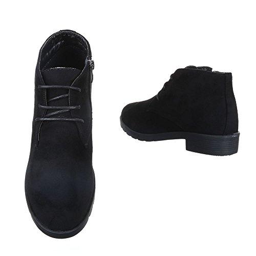 Schnürboots Damen Schuhe Combat Boots Blockabsatz Leicht Gefütterte Reißverschluss Ital-Design Stiefeletten Schwarz