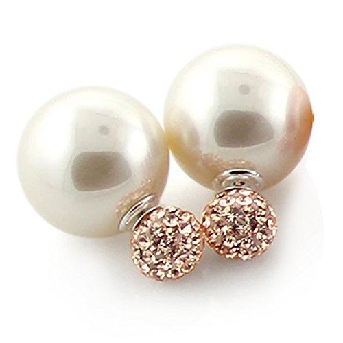 Nouvelle tendance Fashion perle Ball Stud Earring avec Multi Jeweled Poignée boule Ferrand CREAM