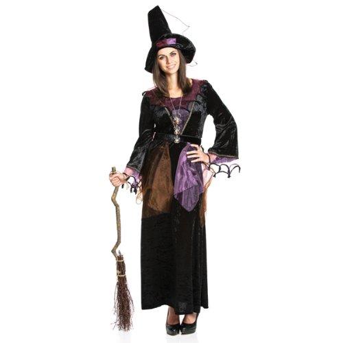 Kostümplanet® Hexen-Kostüm + Hexen-Hut Damen lila Hexe Größe 44/46 (Hüte Billig Hexe)