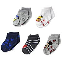 Disney Mickey Mouse Baby 5 Pack Shorty Socks, Assorted Neutral, 12-24 Months