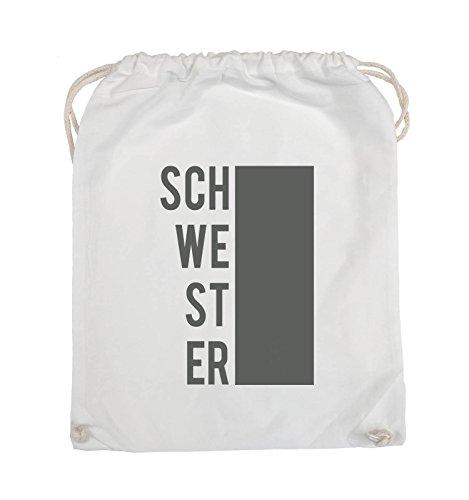 Comedy Bags - SCHWESTER - BLOCK - Turnbeutel - 37x46cm - Farbe: Schwarz / Silber Weiss / Grau