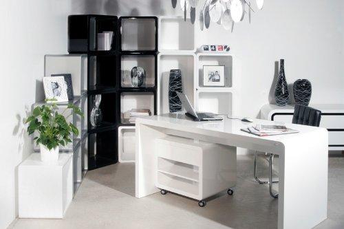 White Club Schreibtisch 180x80 Weiss Hochglanz by Kare Design