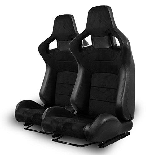 2x Autosportsitz Sportsitz Racingseat schwarz Kunstleder-Alcantara Imitat Sitz