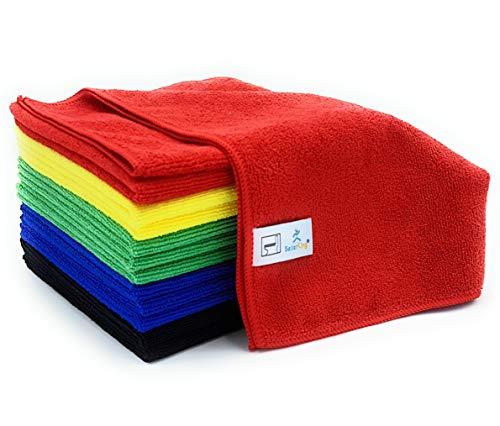 Waschen-hygiene-system (SellerKing® 12 Microfasertücher HGK PRO (10+2) rot, gelb, grün, blau, zusätzlich schwarz für Kfz!!! Haushalt Gewerbe 40 x 40 cm, 300gsm, Mikrofasertücher für alle Flächen! Universell einsetzbar!)