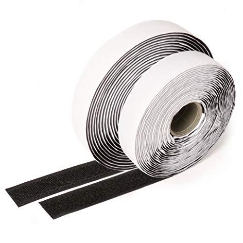 Ilp nastro adesivo in velcro, nero - lunghezza 5 m, larghezza ca. 20 mm - fissaggio sicuro, extra forte, per lavori di casa, fai da te, lavori manuali, maschio e femmina