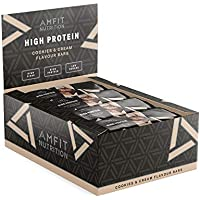 Marca Amazon- Amfit Nutrition Barrita de proteínas sabor Cookies & Cream, pack de 12