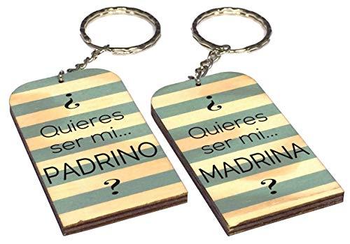Gravure Events Lote: 1 Llavero Quieres ser mi Padrino + 1 Madrina - Un