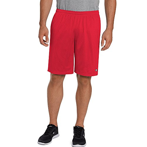 Herren Long Mesh Taschen Shorts, Crimson, Medium (Crimson Mesh Shorts)
