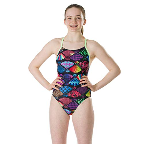Speedo Tranqilfan Allover Digi Thinstrap Crossback Maillot de Bain Fille, Tranquil Fan Black/Bright Zest/Digital, 24 (FR 6)