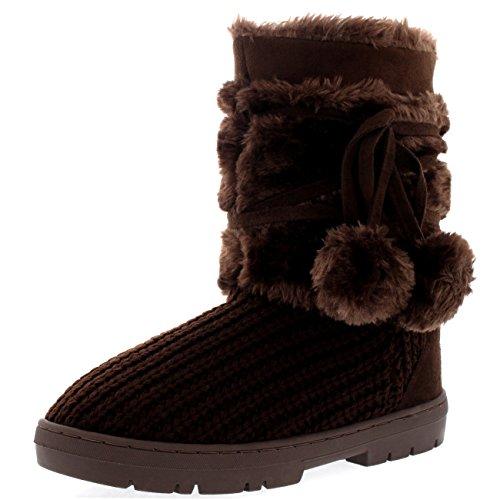 Holly Damen Schuhe Pom Pom Fell Schnee Regen Stiefel Winter Pelzstiefel - Braun Gestrickt - BRK41 AEA0320