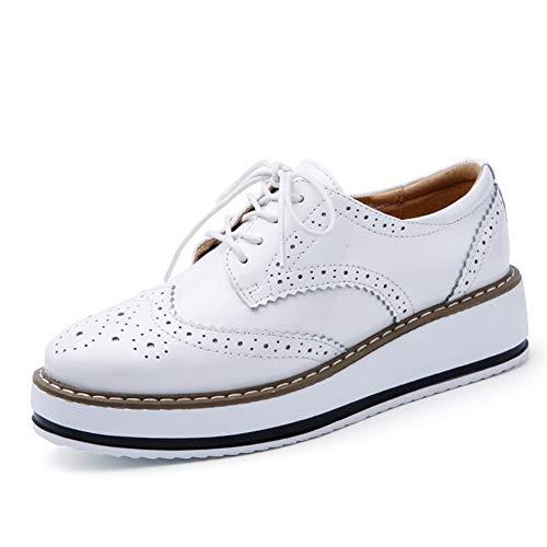 Damen Plateau HalbschuheLeder Brogue Freizeit Atmungsaktive Schnürhalbschuhe Wedges Sneakers Platform Schwarz Weiß Beige Weinrot 35-41 Weiß 37 Weiße Wedge Sneakers