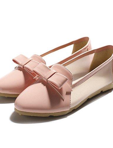 ZQ gyht Damenschuhe-Ballerinas-L?ssig-Kunstleder-Flacher Absatz-Komfort / Spitzschuh-Schwarz / Rosa / Wei? pink-us6.5-7 / eu37 / uk4.5-5 / cn37