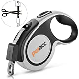 Petacc Retractable Dog Lead, Anti-bite Heavy Retractable Dog Leash 360° Tangle Free,5m Strong Nylon Tape,One-Handed Brake, Pause, Lock