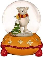 NICI 27663-Bola con nieve pequeño oso polar naranja