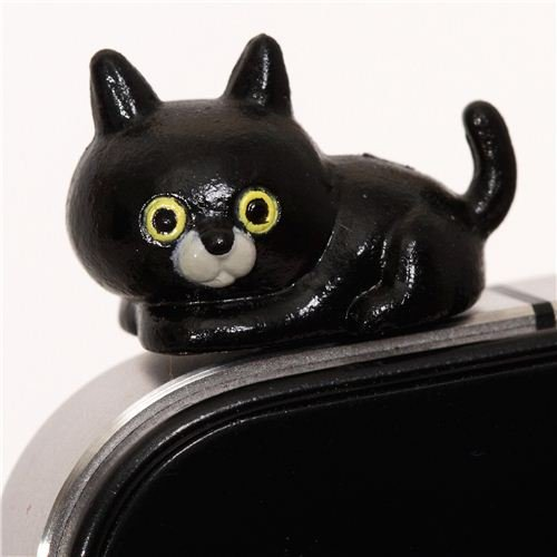 schwarze Katze Handy Stöpsel Kopfhörer Stecker Schmuck