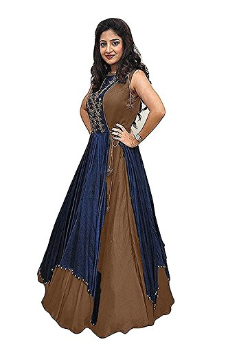 Gowns for women party wear long fancy silk embroidered semi-stitched Indo Western, Latest designer party wear salwar suits lehenga choli for wedding function, low price anarkali dress long kurti for girls (Chocolate)  available at amazon for Rs.444