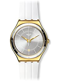 Swatch Damen-Armbanduhr Analog Quarz Leder YWG401