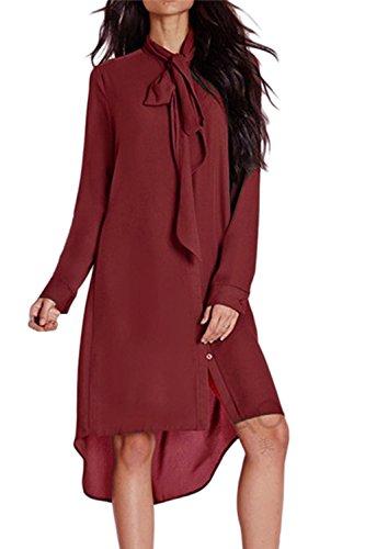 Le Donne Fighe Arco Alto Basso Irregolare Casual Risvolto Tunica Camicetta Vestito Di Chiffon Wined