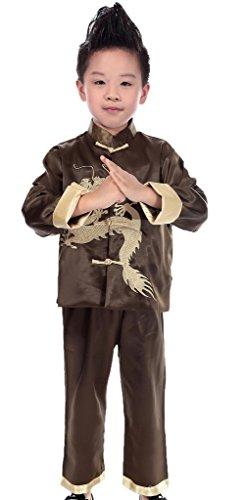 Smile YKK Traditionen Jungen Chinesen Tai Chi Jack Kostüm Kung Fu Uniform Kostüm langärmelige Anzug Satz 12 (Chinesen Kostüm Herren)