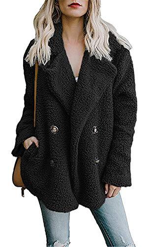 noabat Black Coat Frauen Langarm Outwear Oversized Pullover Jacke mit Taschen XL