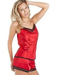 Conjunto de pijama con camisola - Satén - Rojo