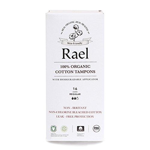 Rael 100% Bio-, non-chlorine gebleicht Tampons mit, biologisch abbaubar, zertifiziert mit Applikator, Regular (16) -