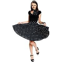 Kostümplanet® Rock-n Roll Rock Kostüm schwarz weiß gepunkteter Rock knielang mit passendem Schal Halstuch Tellerrock 50er Jahre Stil Mode Kostüm Rockabilly Damen Outfit Polka Dots