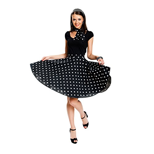 Kostümplanet® Rock-n Roll Rock Kostüm schwarz weiß Gepunkteter Rock Knielang mit passendem Schal Halstuch Tellerrock 50er Jahre Stil Mode Kostüm Rockabilly Damen Outfit Polka Dots (Rock And Roll Motto Kostüm)