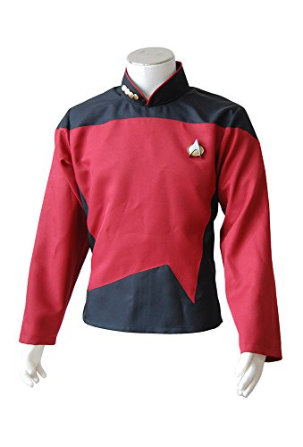 Uniform Kostüm Tng (Star Trek TNG Rot Uniform Cosplay Kostüm Herren)